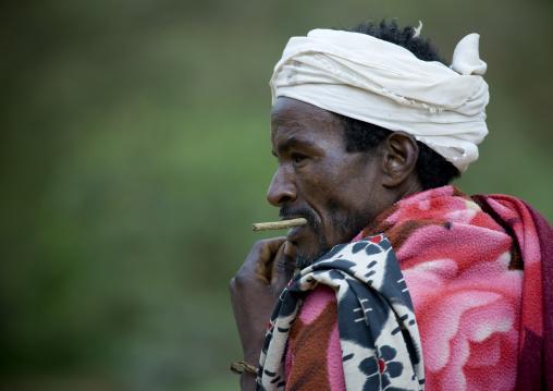 Portrait Of A Borana Tribe Man Chewing A Stick, Yabello, Omo Valley, Ethiopia