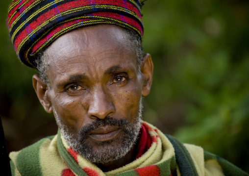 Portrait Of A Borana Tribe Man With Colourful Headband, Yabello, Omo Valley, Ethiopia