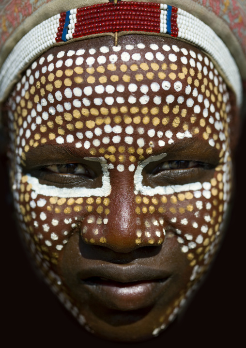 Close Up Portrait Of Erbore Tribe Man With Face Paint, Weito, Omo Valley, Ethiopia