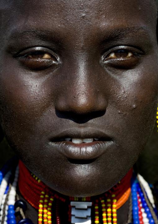 Arbore Tribe Woman Beaded Necklace Portrait, Omo Valley, Ethiopia