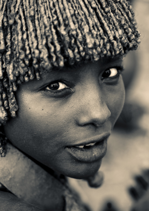 Young Hamer Tribe Woman Looking Back To The Camera, Omo Valley, Ethiopia