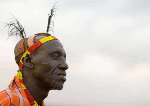 Portrait Of A Karo Tribe Man With Mud Bun And Black Feathers, Korcho Village, Omo Valley, Ethiopia