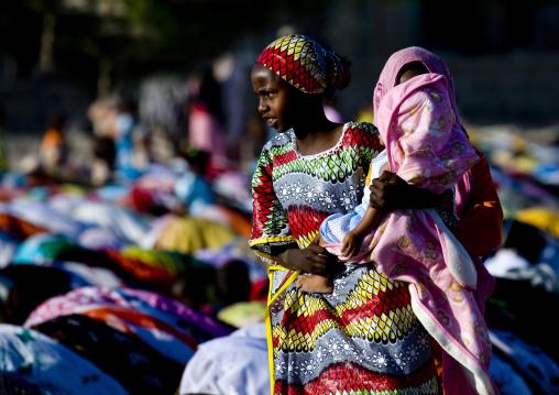 Aid el kebir morning pray, Assaita, Afar regional state, Ethiopia