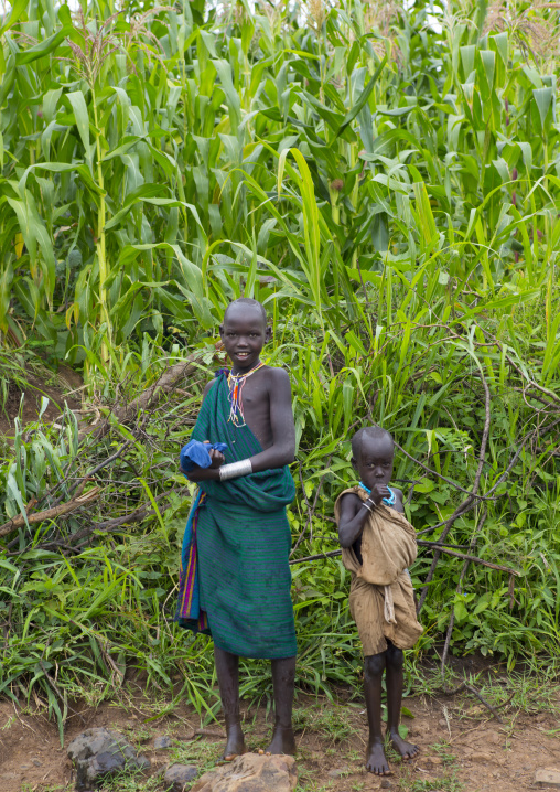 Suri children in a plantation, Koka, Omo valley, Ethiopia