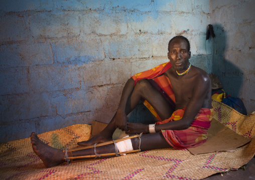 Suri Man Wounded By The Police, Tulgit Dispensary, Omo Valley, Ethiopia