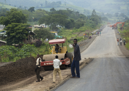Steamroller On The Construction Site Of A Road, Adama, Omo Valley, Ethiopia