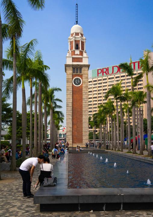 Tsim sha tsui clock tower and fountain, Kowloon, Hong Kong, China