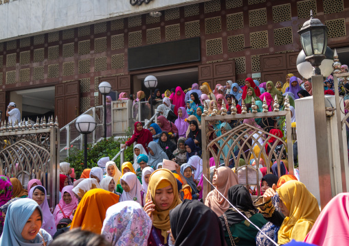 Indonesian female domestic helpers in a mosque for the big pray, Special Administrative Region of the People's Republic of China, Hong Kong, China