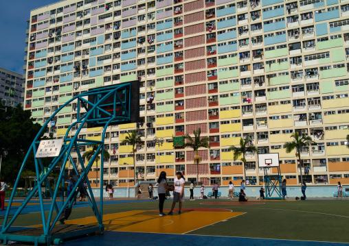 Basketball court in Choi Hung rainbow building, Kowloon, Hong Kong, China