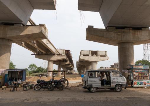 Prepared pillars for construction of railway line over bridge, Rajasthan, Udaipur, India