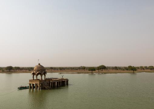Ancient shiva temple on gadisar lake, Rajasthan, Jaisalmer, India