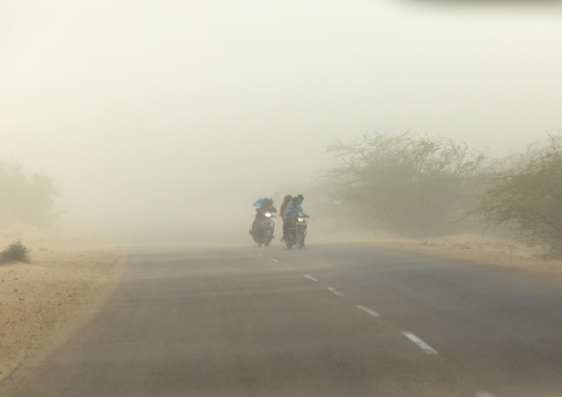 Sand storm on a road, Rajasthan, Jaisalmer, India