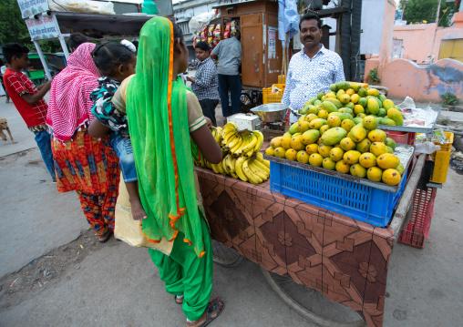 Fresh fruits in indian vegetable market, Rajasthan, Bundi, India