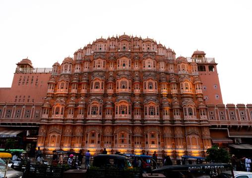 Front of illuminated Hawa Mahal the palace of winds, Rajasthan, Jaipur, India