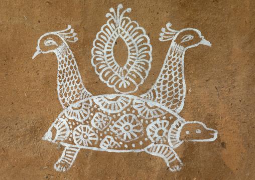 Murals depicting peacocks and a turtle, Rajasthan, Jodhpur, India