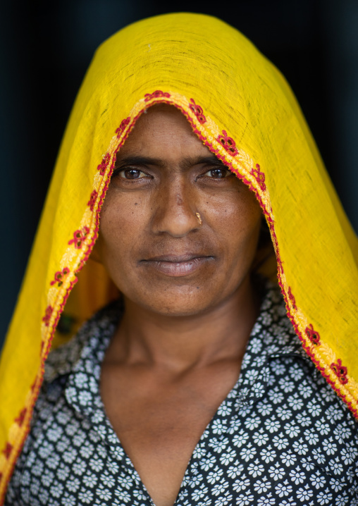 Portrait of a rajasthani woman in traditional yellow sari, Rajasthan, Baswa, India