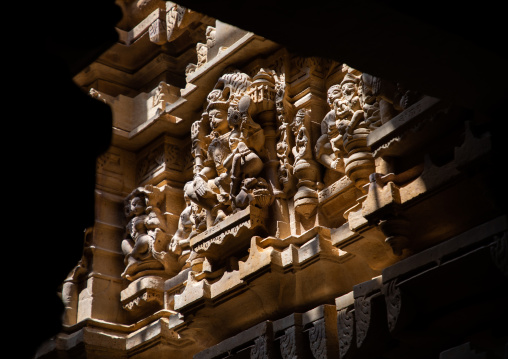 Ancient stone carvings inside the jain temple, Rajasthan, Jaisalmer, India