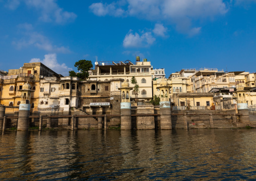 Houses on lake Pichola, Rajasthan, Udaipur, India