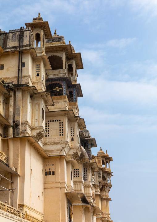 City palace facade from manek chowk, Rajasthan, Udaipur, India
