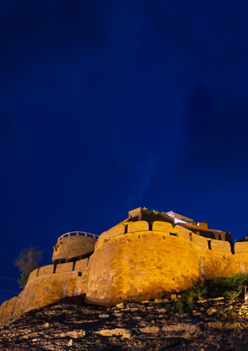 Jaisalmer fort by night, Rajasthan, Jaisalmer, India