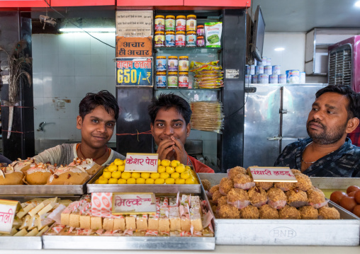 Indian sellers in a sweet shop, Rajasthan, Bikaner, India