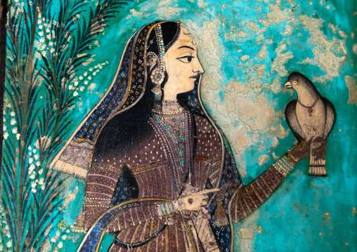 Taragarh fort murals depicting an indian woman with a dove, Rajasthan, Bundi, India