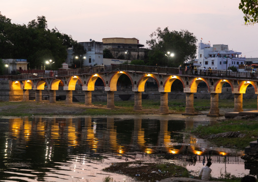 Illuminated bridge on Gangaur ghat, Rajasthan, Udaipur, India
