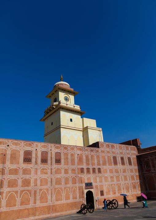 City palace clock tower from Sarvato Bhadra courtyard, Rajasthan, Jaipur, India