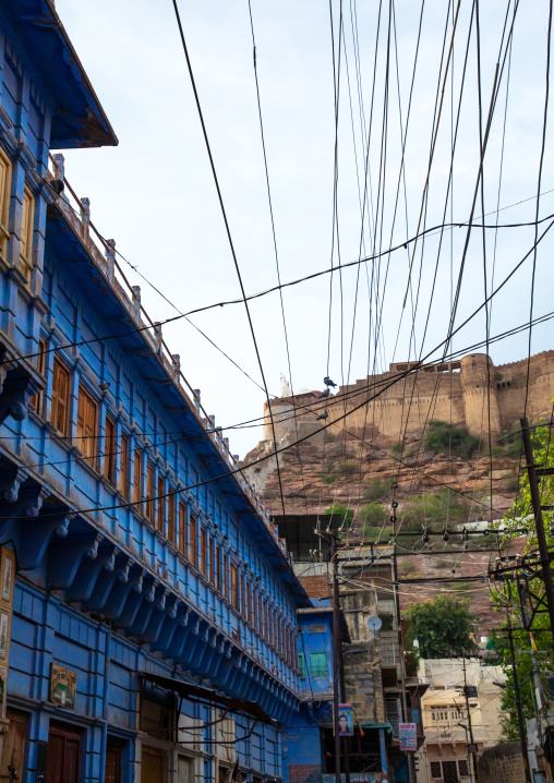 Old blue house of a brahmin at the bottom of the fort, Rajasthan, Jodhpur, India