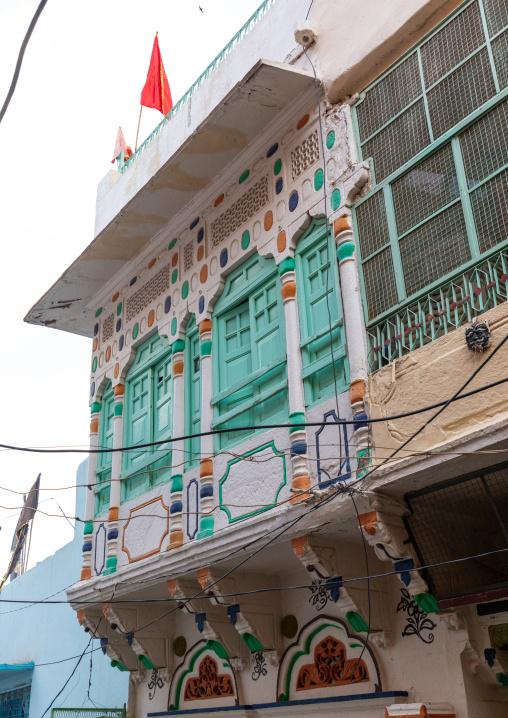 Green windows of a haveli, Rajasthan, Jodhpur, India