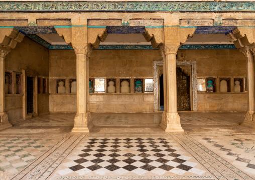 Geometric tiles in Taragarh fort, Rajasthan, Bundi, India