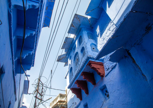 Old blue house of a brahmin, Rajasthan, Bundi, India