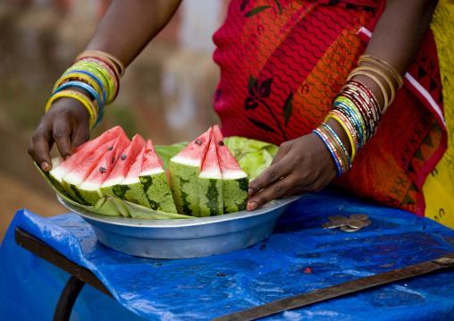 Watermelon Seller Wearing A Lot Of Bracelets, Madurai, India