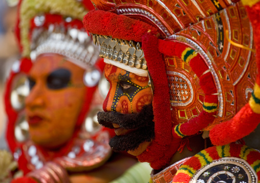 Men Dressed For Theyyam Ritual With Traditional Painting On Their Face, Thalassery, India
