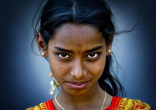 Indian Girl With Beautiful Eyes, Mysore, India