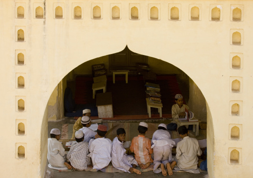 Group Of Young Boys Studying In A Bilal Mosque Madrassa, Mysore, India
