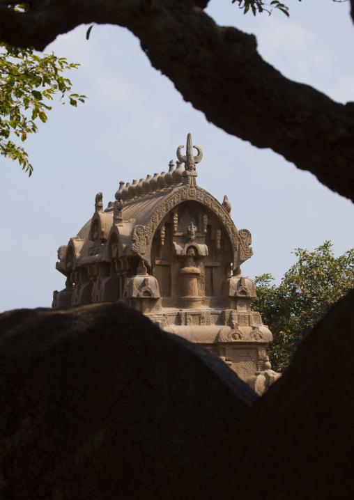 Top Of The Monolithic Temple Ganesha Ratha, Mahabalipuram, India