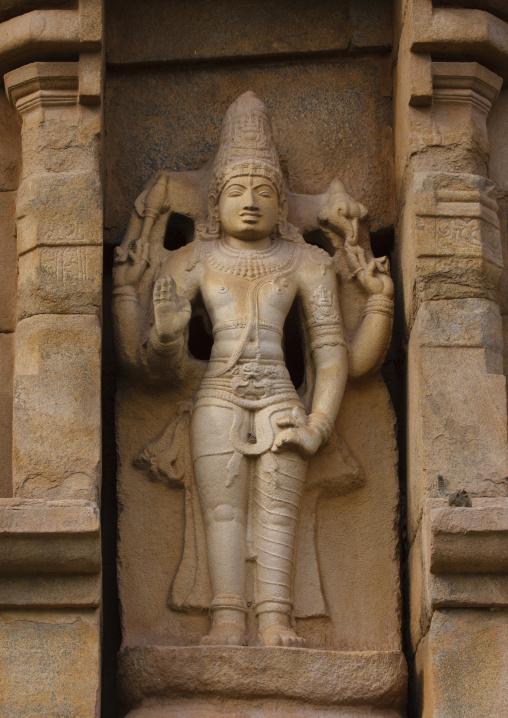 Rock Cut Carving Of Lord Hariharan On The Brihadishwara Temple, Gangaikondacholapuram, India