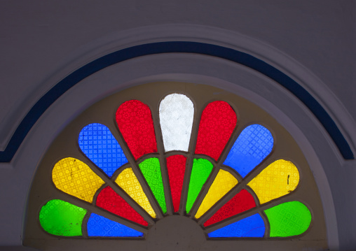 Colorful Tinted Glass In An Arch At The Entrance Of The Chettinad Palace, Kanadukathan Chettinad, India