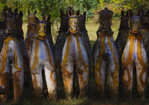 Terracotta Horses Lined Up By The Ayyanar Temple, Pudukkottai, India