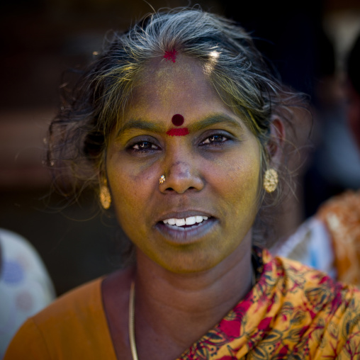 Woman In Sari With Traditional Paintings On Her Forehead, Pondicherry, India