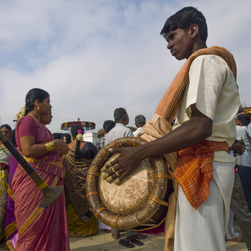 Devotees Playing Nadaswaram And Thavil During The Procession At Masi Magam Festival Pondicherry, India