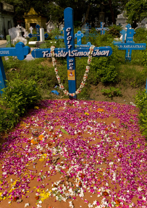 Colorful Graves Covered With Flowers In A Cemetery, Pondicherry, India