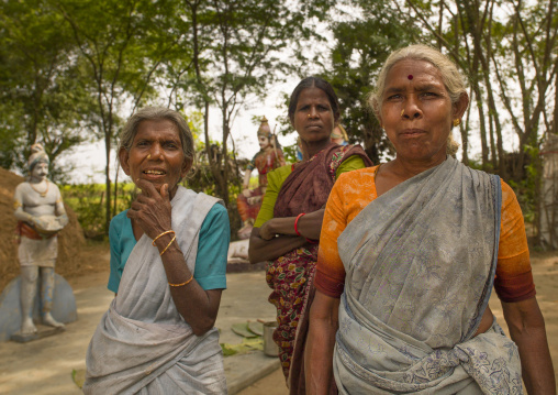 Group Of Mature Women With Typical Indian Clothes Starring At The Camera, Pondicherry, India