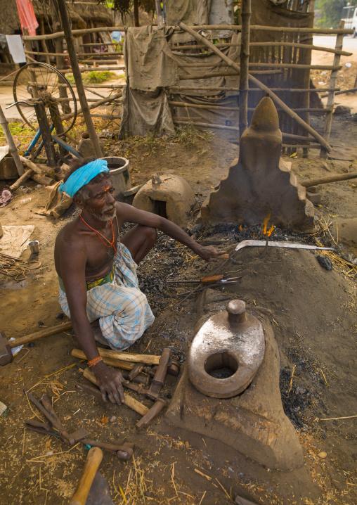 Squatting Blacksmith Forging Tools Near Pondicherry, India
