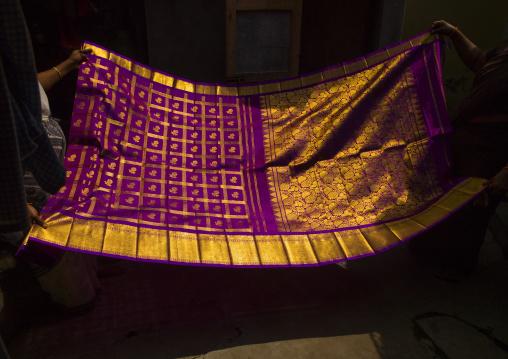 Women's Hands Folding A Colorful Sari With Gilt, Kumbakonam, India