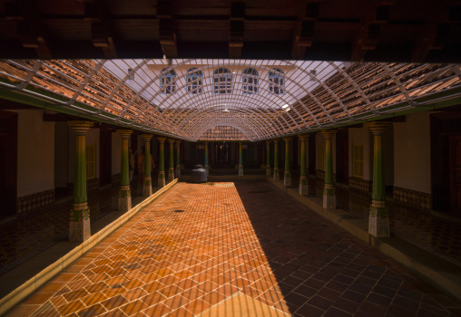 The Inner Hall With Colorful Pillars In The Chettinad Palace, Kanadukathan Chettinad, India