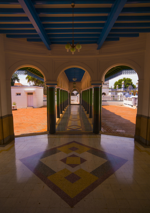 Patio With Colorful Pillars And Tile In The Chettinad Palace, Kanadukathan Chettinad, India
