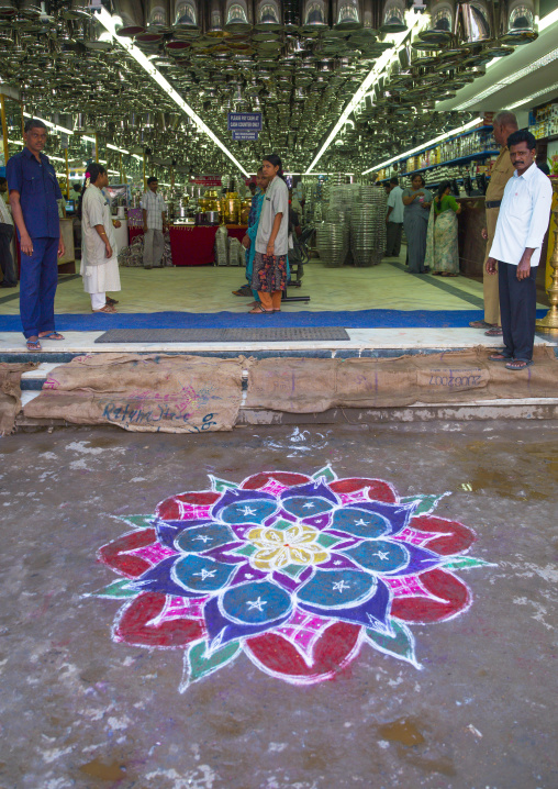 Kolam Painted In The Street In Front Of A Ironmonger's Store To Bring Prosperity To The Shop , Trichy, India