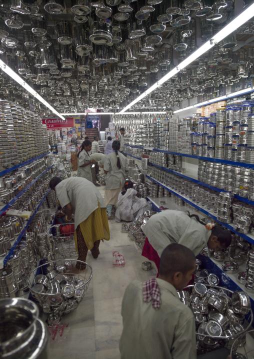 Employees In A Ironmonger's Store Replenishing Shelves, Madurai, India
